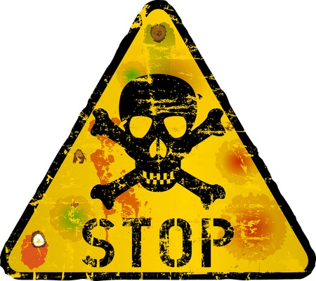 stop sign, warning sign with skull, vector