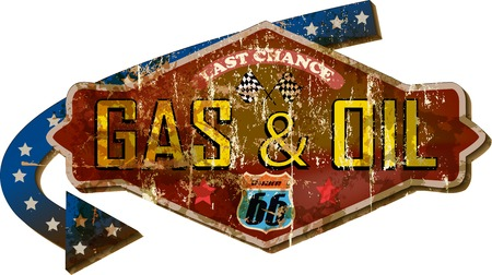 sixty six: grungy retro route sixty six gas station sign, vector illustration