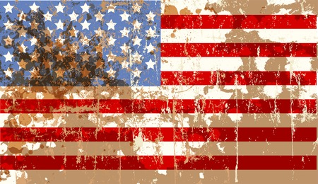 peeled off: grungy american flag, stars and stripes, vector