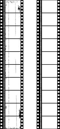 omen: two filmstrips of motion picture frames, omen grungy,one clean, vector