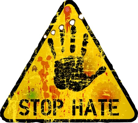 personel: stop hate, warning sign, vector