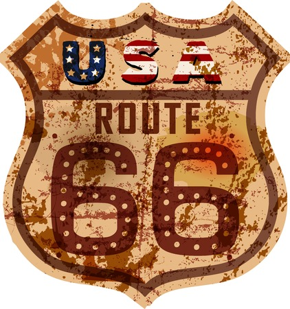 vintage route 66 road sign,grungy vector illustration Illustration