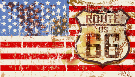 grungy famous route 66 road sign w. stars and stripes, retro vector