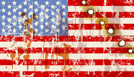 holes: grungy USA flag with bullet holes, vector,