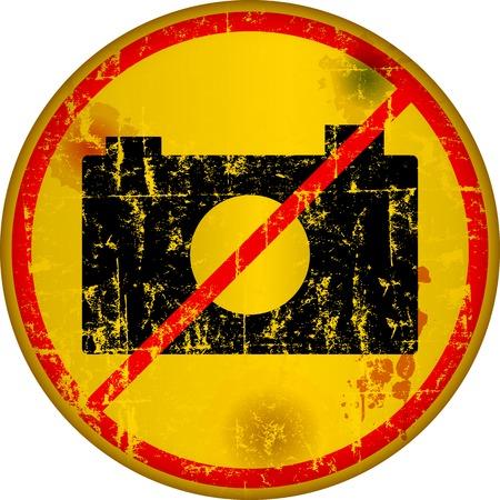no photo: no cameras, no photos,prohibition or warning sign, grungy style, vector illustration