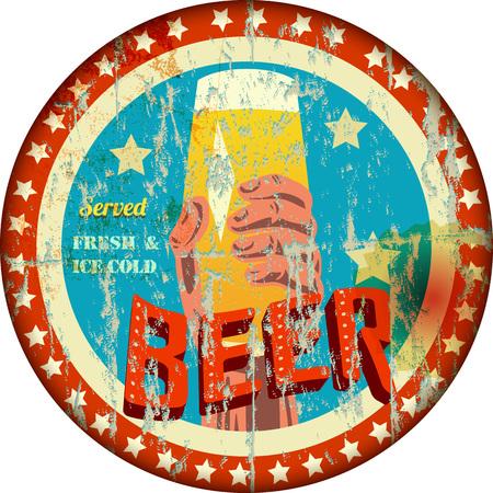 vintage sign: vintage grungy enamel beer sign, vector illustration