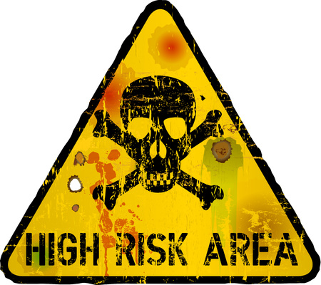 look out: high risk area, internet security, vector illustration
