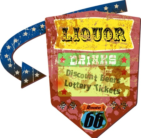 sign store: grungy retro route 66 liquor store advertising sign, vector