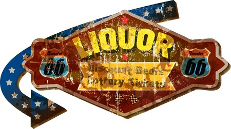 grungy retro route 66 liquor store advertising sign, vector