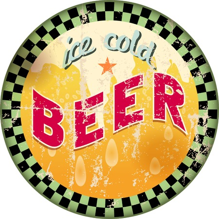 metal drawing: retro beer advertising sign, vector illustration,free copy space Illustration