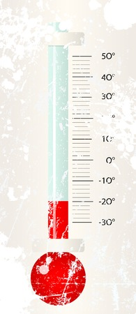 snowstorm: Thermometer in a cold winter. Measuring a temperature of -20 dregree celsius. Vector illustration