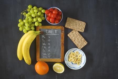 diet plan: healthy food, dieting, flat lay,black board with diet plan
