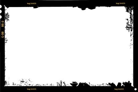 grungy large format film sheet negative, 6 x 9 centimeters, photo frame, vector Illustration