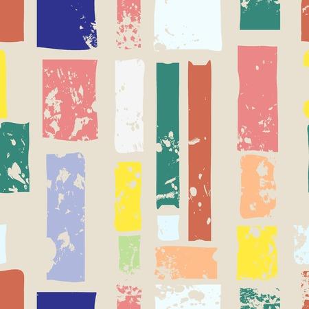 Motif de rayures de couleurs rétro à la main à la main, vecteur