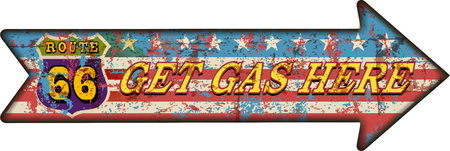 battered: battered route 66 gas station sign, retro style, vector illustration
