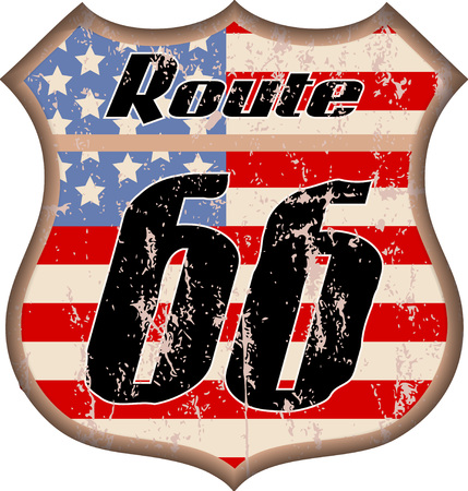 vintage grungy route sixty six road sign with stars and stripes, vector