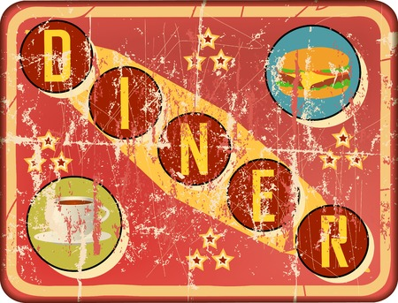 weathered retro route 66 diner sign, vector illustration Illustration