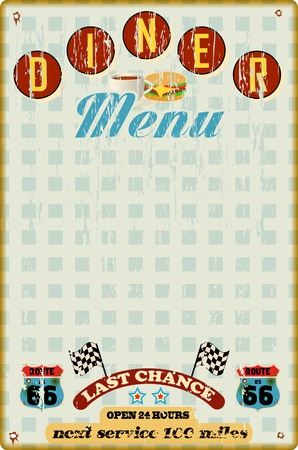 advertising signs: menu template for diner, fast food restaurant, vintage style, vector Illustration