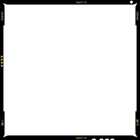 Formato medio en blanco marco de imagen negativa, con espacio libre copia, aislado sobre fondo blanco,