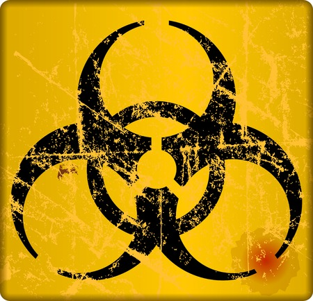 Computer virus alert sign, vector illustration.