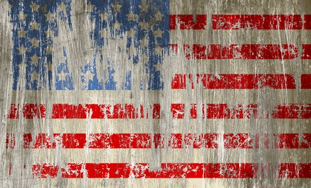 peeled off: damaged grungy USA flag on scratched metal surface, stars and stripes