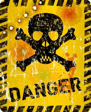 hazard stripes: grungy danger sign with skull and bullet holes, vector illustration Illustration