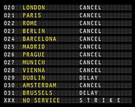 canceled: Flight information on airport information display, canceled flights, strike, vector