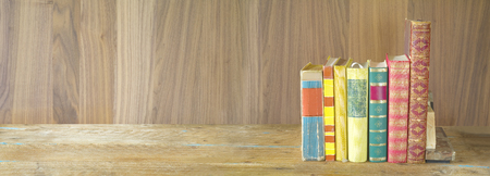 bibliomania: row of books on wooden background, panorama format, good copy space Stock Photo