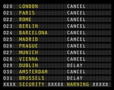 canceled: security warning on airport information display, canceled flights, vector