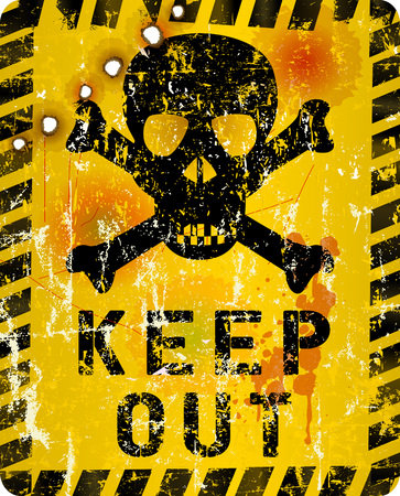 grungy keep out sign with skull and bullet holes, vector illustration Vettoriali