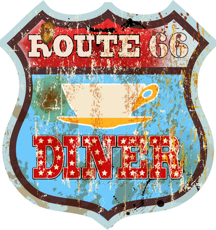 grungy retro route sixty six diner sign, vector illustration, fictional artwork