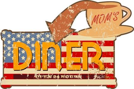 signage: Grungy faded retro diner sign, vector illustration Illustration