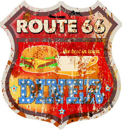 Grungy retro route 66 diner sign, vector illustration.