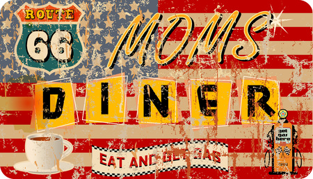 sign: grungy retro route 66 Diner sign, vector illustration