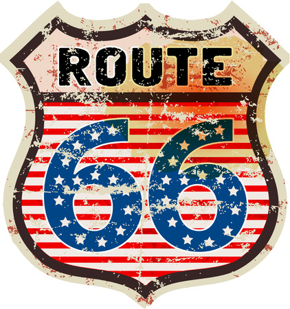 Retro route siixty six road sign, grungy style. Illustration