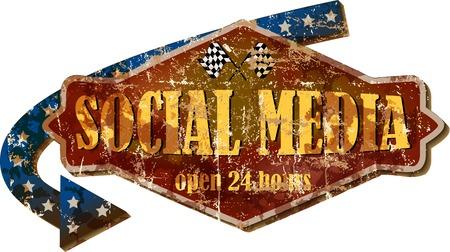 Retro sign social media, web icon, vector illustration