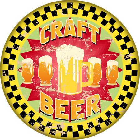 Retro craft beer advertising sign, vector illustration,fictional artwork