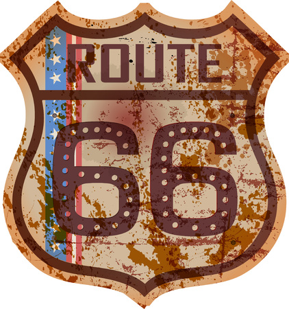 Vintage route 66 road sign, retro style, fictional artwork, grungy vector illustration