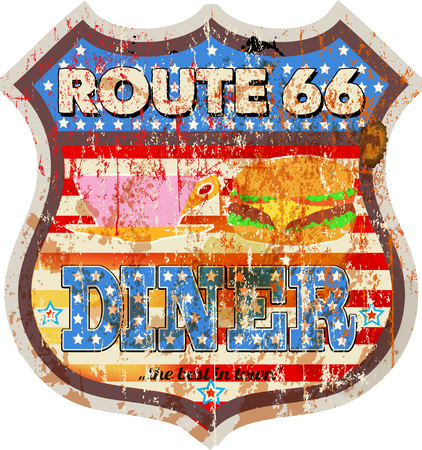 grungy retro route 66 diner sign, vector illustration, fictional artwork Illustration