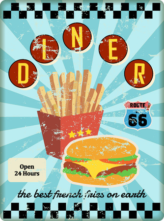 grungy route 66 diner sign, vector illustration