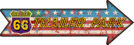 blue signage: Retro route sixty six trailer park sign, grungy style, vector illustration