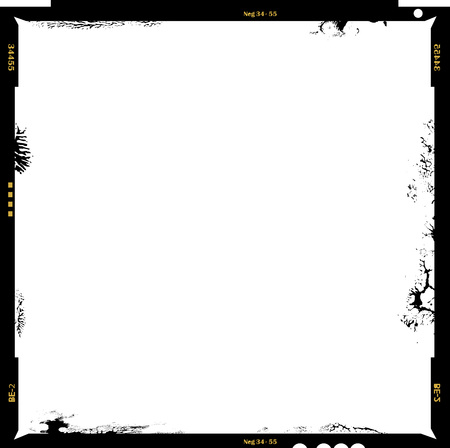 Blank medium format negative picture frame,with free copy space, isolated on white background, Illustration