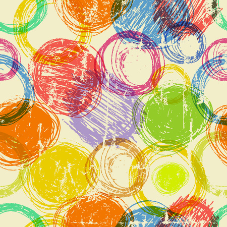 abstract hand drawn circles seamless background, gunge style vector Stok Fotoğraf - 78890443