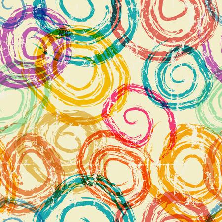 abstract hand drawn spirals seamless background, gunge style vector