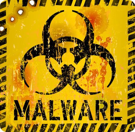 computer virus, malware alert sign, vector illustration Illustration