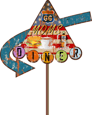 grungy retro route 66 Diner sign, vector illustration