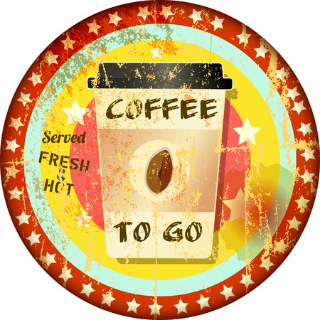 cappucino: Coffee to go sign, grungy hipster style, vector