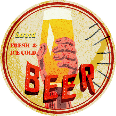 coaster: Old beer mat, beer coaster, with  beer advertising, grungy style vector