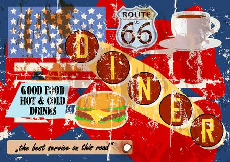 grungy diner sign, retro style, illustration vectorielle Vecteurs