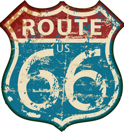 Vintage route 66 roadsign, retro grungy vector illustration